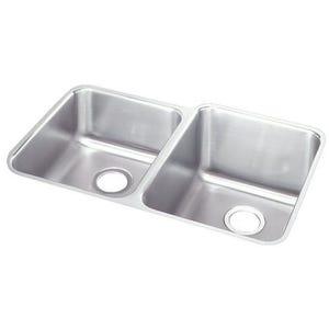 Elkay ELUH3120L Lustertone Undermount Double Bowl Kitchen Sink