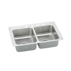 Elkay LRAD3319654 Lustertone Double Bowl Kitchen Sink
