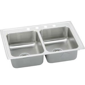 Elkay LRAD3321654 Lustertone Double Bowl Kitchen Sink