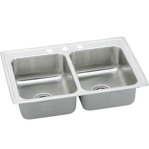 Elkay LRAD3321653 Lustertone Double Bowl Kitchen Sink