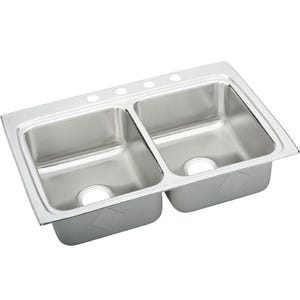 Elkay LRAD3322554 Lustertone Double Bowl Kitchen Sink