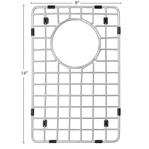 """Karran GR-6019 Stainless Steel Bottom Grid 14"""" x 9"""" fits small bowl on QT-721 and QU-721"""