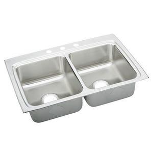 Elkay LRAD3322654 Lustertone Double Bowl Kitchen Sink