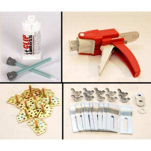 Sink Fasteners (10pk), Adhesive 50mL, 2 tips, & Dispensing Gun (no drilling or inserts required)