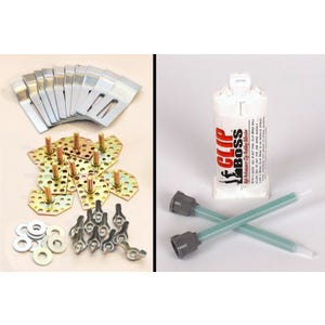 Sink Fasteners (10pk), Adhesive 50mL & 2 tips (no drilling or inserts required)